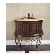 """$200 off with coupon INF200 - InFurniture WB-2232MT 32"""" Bathroom Vanity with a Countertop and a Sink -Thailand Oak Soild Wood with Leather Varving for the doors"""