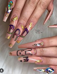 Beautiful, provocative and long nails are the dream of many women. Bling Acrylic Nails, Best Acrylic Nails, Acrylic Nail Designs, Dope Nail Designs, Nailart, Bunny Nails, Exotic Nails, Fire Nails, Ballerina Nails