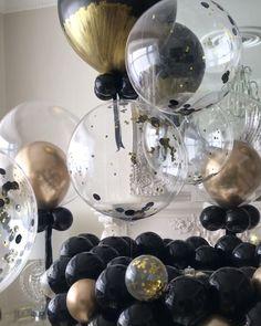 Bespoke Gold & Black Balloon Decoration [Video] in 2019 Silver Party Decorations, Balloon Decorations Party, Party Decoration Ideas, Ideas Party, Birthday Room Decorations, Birthday Decor For Him, Balloon Arch, Balloon Ideas, Deco Ballon