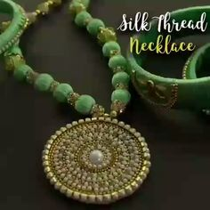 This Silk Thread Necklace will sure be your new favorite jewelry 💚 By: ventunoart Diy Thread Earrings, Silk Thread Earrings Designs, Silk Thread Bangles Design, Wire Jewelry Patterns, Silk Thread Necklace, Thread Jewellery, Beaded Jewelry, Diy Jewelry Videos, Making Ideas