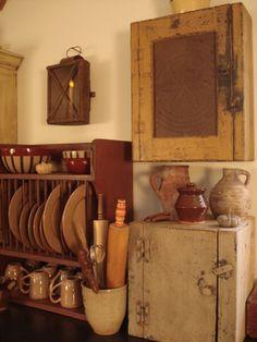Primitive Homes, Primitive Kitchen, Country Primitive, Country Kitchen, Primitive Cabinets, Country Homes, Country Living, Prim Decor, Country Decor