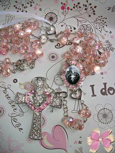 Terço para noivas cristal rosa