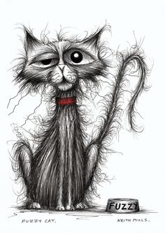 Scraggly cat in search of a good home - original ink drawing by Keith Mills on Folksy