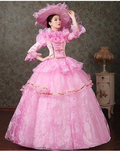 luxury ruffled pink/blue/green/purple medieval dress with hat Renaissance Gown…
