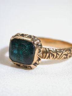 French 18th century signet ring coat of arms 18th century emerald - Google Search