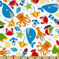 Seaside Holiday Sea Creatures White - Discount Designer Fabric - Fabric.com