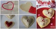 Valentine's Day Mini Cherry Heart Pies - Valentine's Day Snack. Easy Cherry Pie Recipe. Heart Party Theme. Details on Frugal Coupon Living.