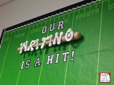 Sports theme bulletin board: Our Writing is a Hit