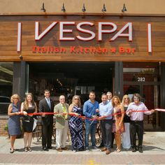 Grand opening and ribbon cutting ceremony for the recently opened Vespa Restaurant, 282 Main Street, Farmingdale.
