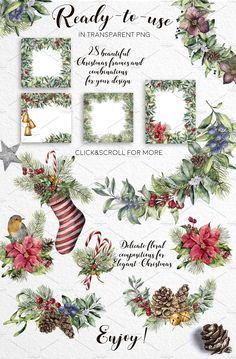 new watercolor collection Delicate Christmas. It consists of floral and decorati. Christmas Phrases, Christmas Clipart, Christmas Love, Christmas Design, Christmas Printables, Christmas Pictures, All Things Christmas, Christmas Crafts, Watercolor Lettering