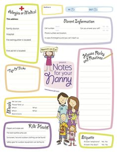 Notes for Your Nanny is a great way to let your nanny or babysitter know important information about your family.