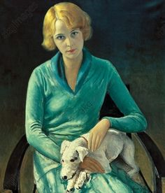 Portrait of a young woman with her dog, 1928 by IMRE GOTH (Hungarian:British, 1893-1982)