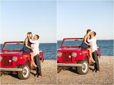 Cool #Jeep Jeepster #convertible used for #wedding engagement photos.