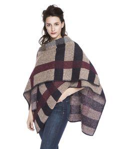 Varma Poncho Botna - Brown/Burgundy - 100% Icelandic Wool