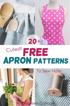 Free Apron Patterns More than 20 free apron patterns here! Learn how to make an apron using these free apron sewing pat Apron Pattern Free, Vintage Apron Pattern, Sewing Patterns Free, Free Sewing, Apron Patterns, Retro Apron, Fabric Patterns, Vintage Sewing, Dress Patterns