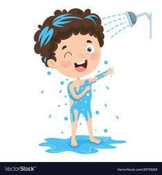 Kid bathing vector image on VectorStock Cow Vector, Rabbit Vector, Fish Vector, Verbs For Kids, Free Vector Images, Vector Free, Action Cards, Illustrator Tutorials, Adobe Illustrator