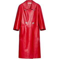 Marni Leather Duster Coat (50,710 MXN) ❤ liked on Polyvore featuring outerwear, coats, jackets, double breasted coat, leather duster coat, red leather coat, red trench coat and leather coats