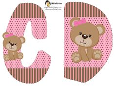 Alfabeto osita coqueta en fondo rosa y marrón. | Oh my Alfabetos!