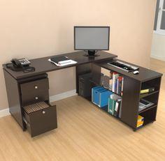 Inval L-Desk with Shelves