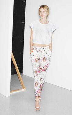 New Womens European Fashion Summer Flower Swallow Print White 7 10 Pants B2248 | eBay