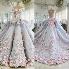 Said Mhamad 2018 Wedding Dresses Bride Robes Ball Gown 3D-Floral Appliques Vintage Lace Beaded Bridal Dress robe de mariage