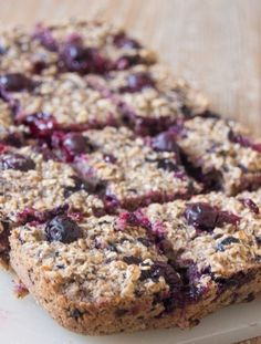 Guest Recipe: Blueberry Porridge Squares | Deliciously Ella