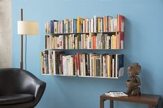 You can use the U wall bookshelf to create your very own TEEbooks Bookshelves. A simple, functional wall mounted shelf, just the way you want it. Wall Shelving Systems, Dvd Storage Shelves, Wall Mounted Shelves, Book Shelves, Floating Bookshelves, Wall Bookshelves, Bookcase, Contemporary Shelving, Record Shelf