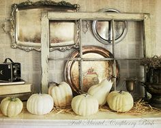 nicely done  {old silver, fall, old windows, white pumpkins}