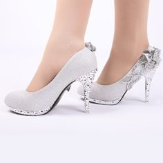 2013 Bride wedding shoes noble rhinestone shoes chromophous bride silver wedding shoes