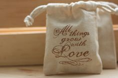 muslin gift favor bag GroW wiTh LoVe x10 muslin by papermoonbyKAT, $12.00