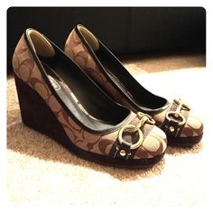 """Coach """"Issy"""" wedges Classic style Coach wedge heels with golden buckle. Only worn once. Very new condition. Two and a half in heel. Comfortable. Style name: Issy Coach Shoes"""
