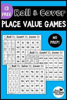 If your learner are working on place value these NO PREP Place Value Games will be a hit Find more No Prep Math Games in this series This post contains affiliate links Th. Printable Math Games, Free Math Games, Math Games For Kids, Abc Games, Best Math Games, Primary Maths Games, Free Printables, 2nd Grade Math Games, Second Grade Math