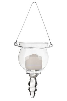 """$3.99. Candle Holder - Hanging - """"Allie"""" - Clear Glass w/Wire Hanger. Bulbous Hanging Votive Holders look great hung from curly willow branches or hung from trees. These are hand blown glass, there may be some variations such as air bubbles and waves in the glass."""