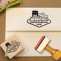 Custom Address Stamp Las Vegas for Save the Dates & Wedding Invitations. $32.00, via Etsy.
