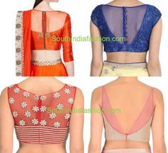 Sheer net transparent Back Neck Blouse Designs