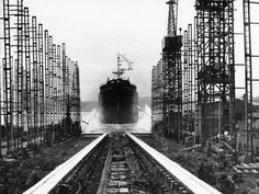 View of the cargo ship Baron Belhaven entering the River Tyne after launch at the shipyard of John Readhead & Sons Ltd, South Shields, 2 November 1959 (TWAM ref. 1061/1121). From Tyne & Wear Archives