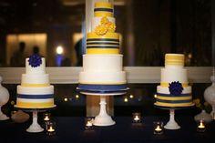 Navy and yellow wedding cakes Yellow Wedding, Wedding Colors, Dream Wedding, Pretty Cakes, Beautiful Cakes, White Cakes, Edible Cake, Sister Wedding, Cake Table