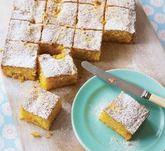 Phil Vickery's gluten-free peachy traybake uses polenta in place of flour. The peaches and lemons make it a deliciously moreish afternoon treat.