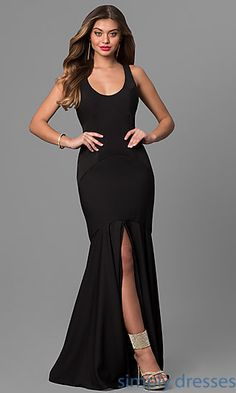 Long Center Slit Mermaid Dress with Scoop Neck