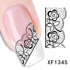 Sexy 3D Black Lace Flower Design Nail Art Stickers Stickers pour Nail conseils…
