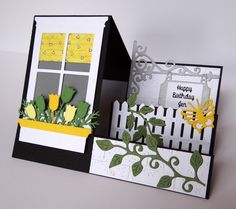 step card - with window flower box on left - picket fence, flowers vines on righ. step card – with window flower box on left – picket fence, flowers vines on right steps Fun Fold Cards, 3d Cards, Folded Cards, Cute Cards, Stampin Up Cards, Side Step Card, Stepper Cards, Memory Box Cards, Karten Diy