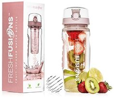 Fresh Fusions Fruit Infuser Bottle Fruit Infused (Rose) Water Bottle Fruit Infusion Water Bottle 32oz 32 oz Protein Shaker Bottle Mixer Bottle Protein Mixer Bottle Water Infuser Sports Gift