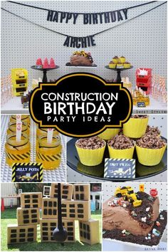 Want to build a boy's construction birthday party? Get ideas for a demolition zone, construction site cake, nuts, bolts, treats and more!