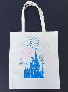 Cinderella Castle Tote Bag Cotton Canvas Blue by MinniesDream