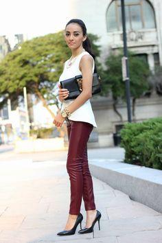 """white peplum top: Topshop, Faux leather pants: h & m, Necklace & Bracelet: Panaceshop.com, Clutch: ShoeDazzle """"Brockton"""", Shoes: Aldo"""