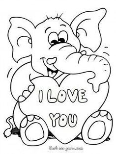 printable valentines day teddy elephant card coloring pages printable coloring pages for kids - Valentine Coloring Pages For Kids