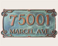 Art nouveau style green copper address plaque carved