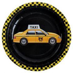 Assiette carton New York taxi jaune pas chère, Assiette carton New York noire Taxi jaune ronde 23 cm les 10, assiette carton plate, art de table, vaisselle jetable, wedding, mariage, fêtes, anniversaire, NY, table festive