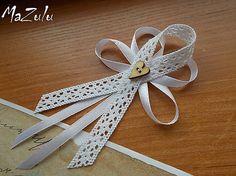 Svadobné pierka Vintage / veľké / / MaZulu - SAShE.sk - Handmade Pierka Diy Bow, Diy Ribbon, Rustic Wedding, Wedding Day, Fabric Bows, Cotton Bag, Corsage, Diy And Crafts, Wedding Decorations