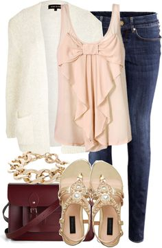 """Untitled #209"" by jafashions ❤ liked on Polyvore - love the tank top would wear the tank top, purse, and a bow bracelet"